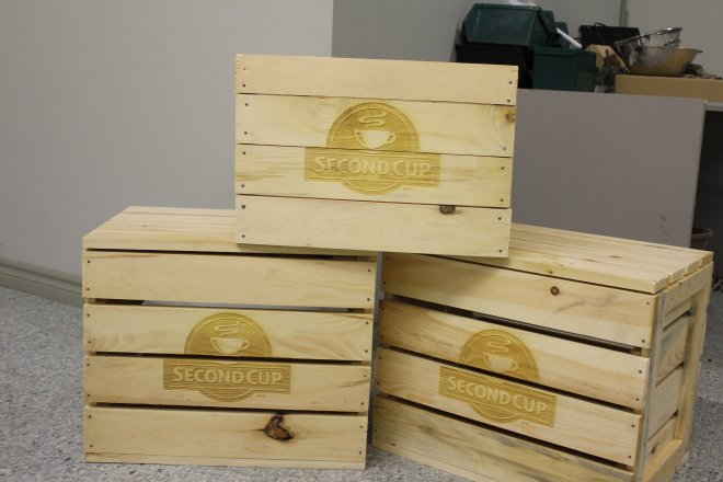 Laser Marking of Wood Crate